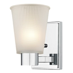 Prismatic Frosted Glass Sconce Chrome