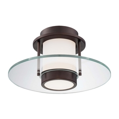 Modern Flushmount Light with White Glass in Copper Bronze Patina Finish