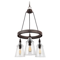 Seeded Glass Mini-Chandelier Weathered Iron Feiss Lighting