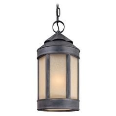 Outdoor Hanging Light with White Glass in Aged Iron Finish