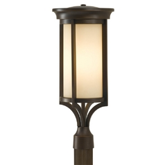 Post Light with Beige / Cream Glass in Heritage Bronze Finish