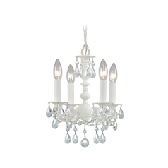 Crystorama Crystal Mini-Chandelier in Wet White Finish 5514-WW-CL-MWP