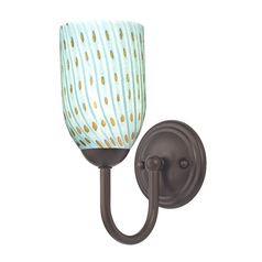 Sconce with Turquoise Art Glass in Bronze Finish