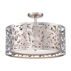 Modern Semi-Flushmount Light with White Cage Shades in Chrome Finish