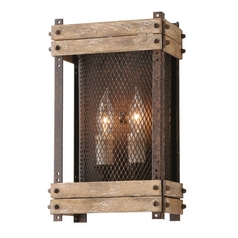Troy Lighting Merchant Street Rusty Iron with Salvaged Wood Slats Sconce