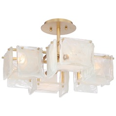 Metropolitan Arctic Frost Antique French Gold Semi-Flushmount Light