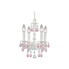 Crystorama Crystal Mini-Chandelier in Wet White Finish 5514-WW-RO-MWP