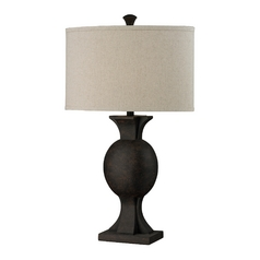HGTV Table Lamp in Burnished Bronze with Beige Drum Shade