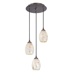 Design Classics Lighting Multi-Light Pendant Light with Mosaic Glass Glass and 3-Lights 583-220 GL1034