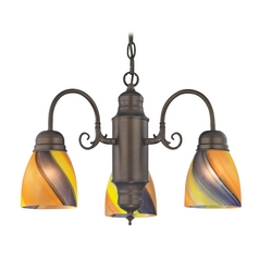 Mini-Chandelier with Art Glass in Bronze Finish