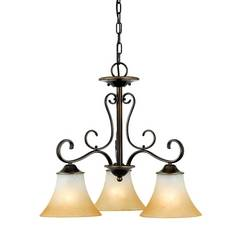 Quoizel 3-Light Chandelier with Brown Glass in Palladian Bronze