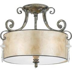Semi-Flushmount Light with Beige / Cream Mica Shade in Mottled Silver