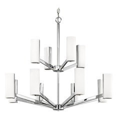 Modern LED Two Tier Chandelier with 12 Lights Chrome Finish