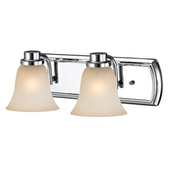 Caramel Glass Bathroom Light in Chrome with 2-Lights