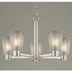 Prismatic Clear Glass Chandelier Satin Nickel