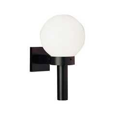 Mid-Century Modern Outdoor Wall Light Black Acrylic Globe by Progress Lighting