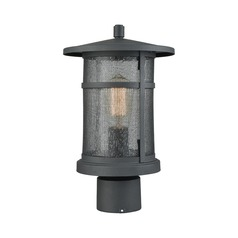 Seeded Glass Post Light Black Elk Lighting