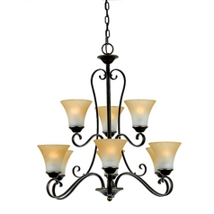Chandelier with Brown Glass in Palladian Bronze Finish