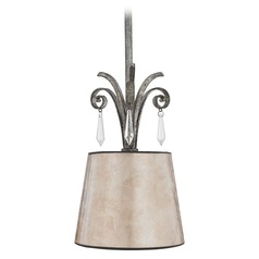 Mini-Pendant Light with Beige / Cream Mica Shade
