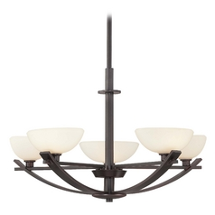 Minka Lighting Modern Chandelier with White Glass in Lathan Bronze Finish 1585-167