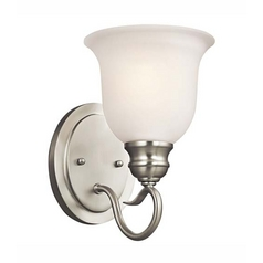 Kichler Sconce Wall Light with White Glass in Brushed Nickel Finish