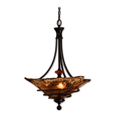 Pendant Light with Art Glass in Oil Rubbed Bronze Finish