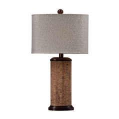 Table Lamp with Cork and Oval Shade