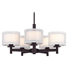 Double Organza Chandelier Bronze 5 Lt