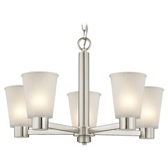 Prismatic Frosted Glass Chandelier Satin Nickel
