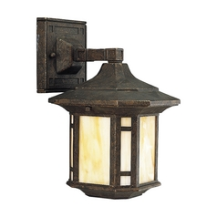 Progress Outdoor Wall Light with Art Glass in Weathered Bronze Finish