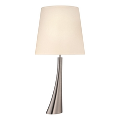 Modern Table Lamp with Beige / Cream Shade in Satin Nickel Finish