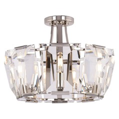 Metropolitan Castle Aurora Polished Nickel Semi-Flushmount Light