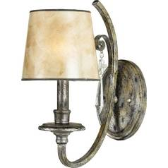 Sconce Wall Light with Mica Shade in Mottled Silver Finish