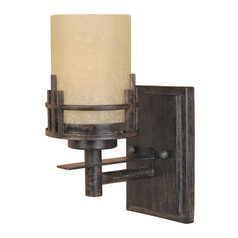 Sconce Wall Light with Beige / Cream Glass in Warm Mahogany Finish