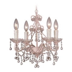 Crystal Mini-Chandelier in Birch Finish