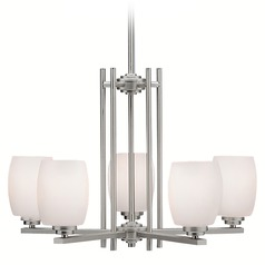 Kichler Modern Chandelier with White Glass in Brushed Nickel Finish