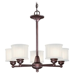 Modern Chandelier with White Glass in Lathan Bronze Finish