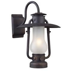 Stagecoach 1 Light Sconce in Matte Black and Acid Etched Glass