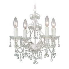 Crystal Mini-Chandelier in Wet White Finish