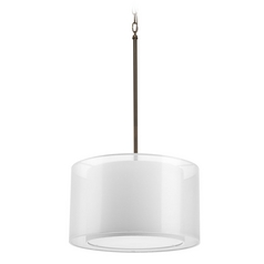 Modern Drum Pendant Light with White Null Shade in Antique Bronze Finish