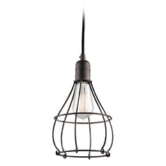 Kichler Lighting Industrial Cage Weathered Zinc Mini-Pendant Light