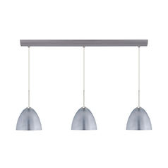 Modern Multi-Light Pendant Light with Silver Glass and 3-Lights