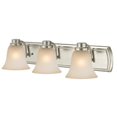Caramel Glass Bathroom Light in Satin Nickel with 3-Lights