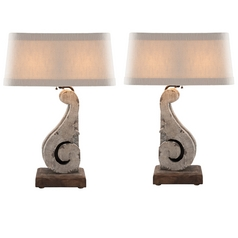 Aidan Gray Home Cracked Gray Table Lamp Set