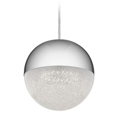 Elan Lighting Moonlit Chrome LED Pendant Light with Globe Shade