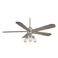 56-Inch Minka Aire Alva Brushed Nickel LED Ceiling Fan with Light