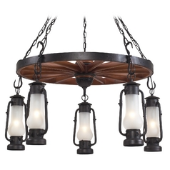 Stagecoach 5 Light Chandelier in Matte Black and Acid Etched Glass