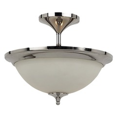 Sea Gull Lighting Modern Semi-Flushmount Light with White Glass in Polished Nickel Finish 79771BLE-841