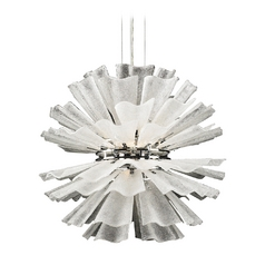 Modern Pendant Light with White Glass in Polished Chrome Finish