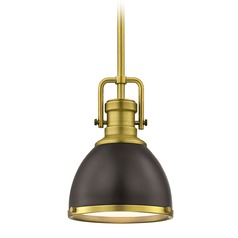 Industrial Small Pendant Light Bronze / Brass 7.38-Inch Wide